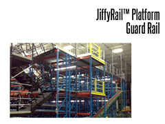The easy to install JiffyRail™ guard rail system guards open, exposed areas on mezzanine platforms and other elevated surfaces.