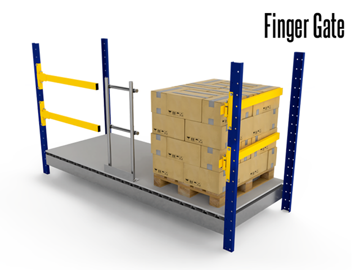 Finger Gates provide a protective barrier at elevated work levels. The Finger Gate is commonly used for pallet flow and charge areas where pallets are gravity-fed.