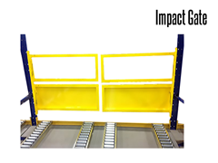 Impact gates are designed to open and close during pallet load transfers and drop offs.