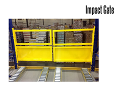 Impact gates are durable steel gates designed with spring loaded mechanisms allows for a self-closing operation when pallet loads pass through