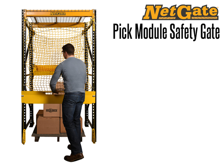 The NetGate™ Pick Module Safety Gate allows users safe access to palletized materials on elevated  pick modules and rack systems.