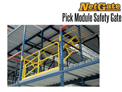 The NetGate™ Pick Module Safety Gate in use on an elevated mezzanine system