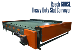 Roach Model 608SL, Heavy Duty Slat Conveyor. This conveyor is 18 feet long and almost 12 feet wide.