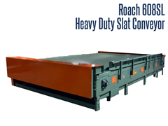 The Roach Model 608SL, Heavy Duty Slat Conveyor conveys unstable, irregularly shaped objects and those products with problem bottom surfaces.