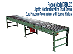 Picture for Line Shaft Driven Zero Pressure Accumulator, Roach Model 796LSZ with Sensor Rollers