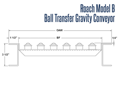 Roach Model B Ball Transfer Units Side View Schematic