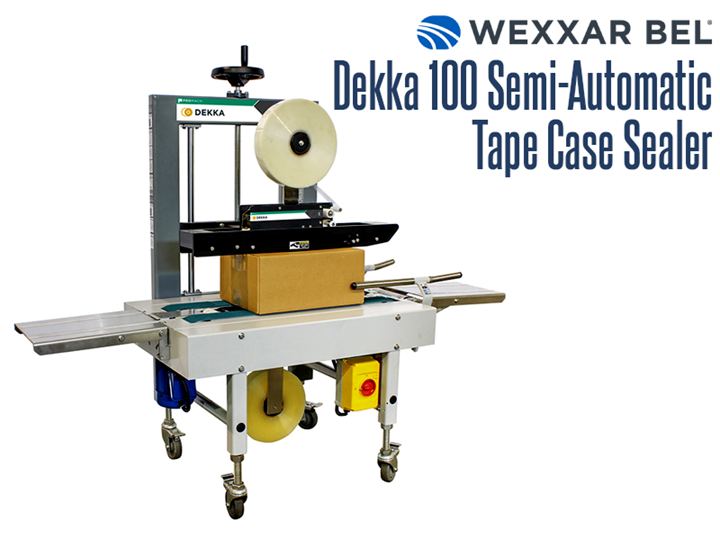 The Dekka 100 is a semi-automatic, bottom belt case sealer designed for quick size changes and simple tape applications.