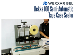 The Dekka 100 is a pressure sensitive, bottom belt, semi-automatic case sealer. It is designed to be the perfect pairing for the Dekka tape-head, providing an economic and reliable case sealing solution.