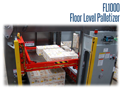 FL1000 can palletize 10 cases per minute or more, depending on the case size and pallet pattern