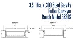 """Roach Model 3530S 3-1/2"""" Dia. X .300 Steel Gravity Roller Conveyor Front View Schematic"""