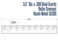 """Roach Model 3530S 3-1/2"""" Dia. X .300 Steel Gravity Roller Conveyor Side View Schematic"""