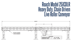 Roach Model 251CDLR Heavy Duty Chain Driven Live Roller Conveyor Side View Schematic