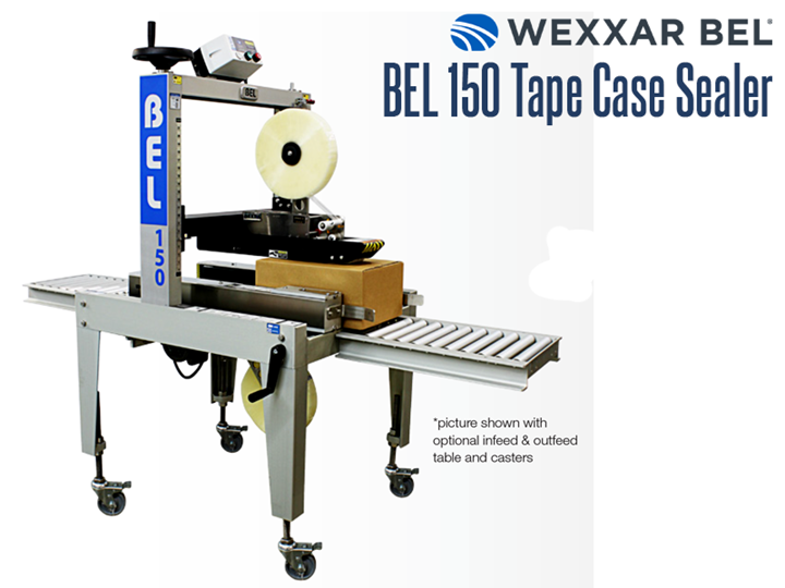 The BEL 150 is a semi-automatic, pressure sensitive, top and bottom tape case sealer. It is a versatile and compact machine that can seal a wide range of case sizes.  When combined with a BEL case former, it allows one operator to form, pack and seal corrugated cases in a single operation.