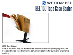The BEL 150 optional KDF Box Stand is one of the most popular accessories for semi-automatic packaging lines. The box stand holds case blanks in a convenient position for quick and ergonomic packing.
