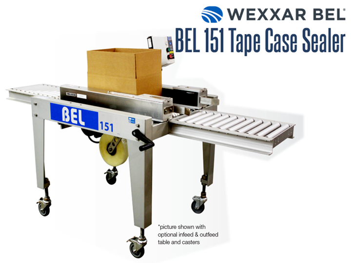 The BEL 151 is a semi-automatic, pressure sensitive, bottom only tape case sealer. It is a versatile and compact machine that can seal a wide range of case sizes. When combined with a BEL case former, it allows one operator to form, pack and seal corrugated cases in a single operation.BEL 150 Pressure Sensitive, Semi-