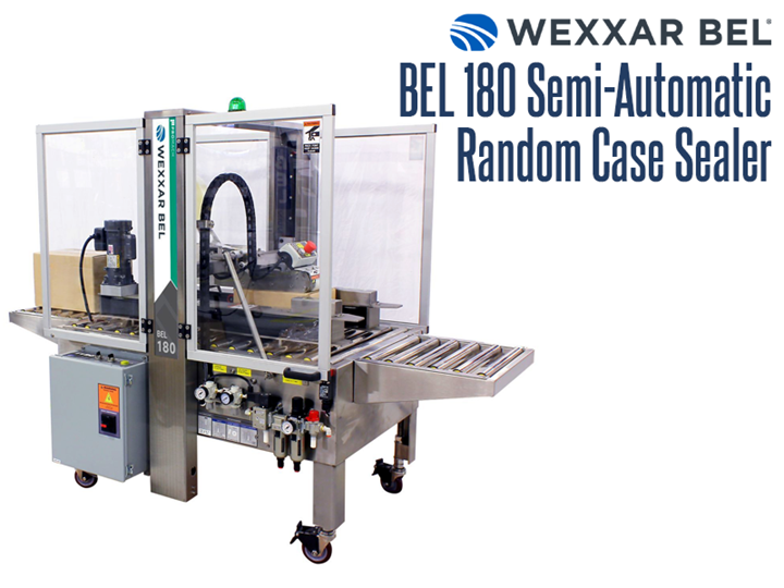 The BEL 180 Semi-Automatic, top and bottom case tape sealer provides adaptive case sealing for uniform or random sizes at speeds of up to 20 cases per minute.
