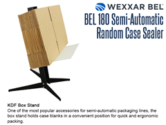 The BEL 180 offers an optional KDF Box Stand, which holds case blanks in a convenient position for quick and ergonomic packing.