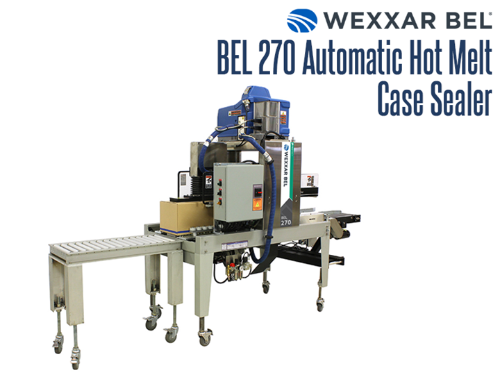 The BEL 270 is an automatic uniform hot melt glue case sealer.  Its compact size, quality construction and safe operating performance makes it unmatched in the industry when compared to other units.