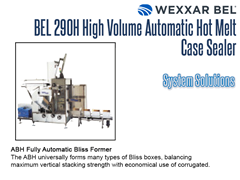 An ABH Fully Automatic Bliss Former can provide a complete solution for Bliss boxes paired with a BEL 290H.