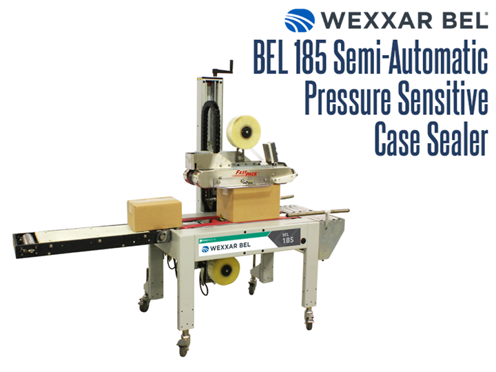 The BEL 185 is a semi-automatic, pressure sensitive random top and bottom case sealer.  Ideal for continuous, varying case size operations, it automatically sizes independently to each case, with no manual adjustments needed.