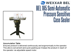 BEL 185 Optional Accumulation Table presents product to the operator for packing.