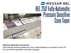 The BEL 252 has machine mounted pictoral guides and color coded labeling for convenient operations and size changes.
