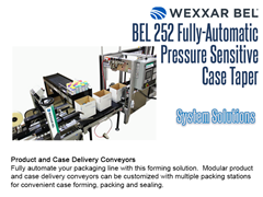 The BEL 252 can be combined with modular product and case delivery conveyors for a complete system solution.