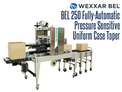 The BEL 250 is a fully automatic, pressure sensitive uniform case taper.  Its design showcases safety, simplicity and stability all contained within the smallest square footage of any fully automatic case taper.
