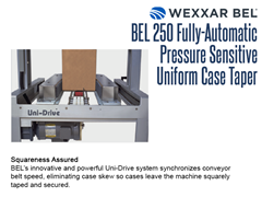 The BEL 250's innovative and powerful Uni-Drive system synchronizes conveyor belt speed, eliminating case skew so cases leave the machine squarely taped and secured.