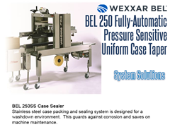 Wexxar offers the  BEL 250SS for stainless steel case packing and sealing systems designed for washdown environments.