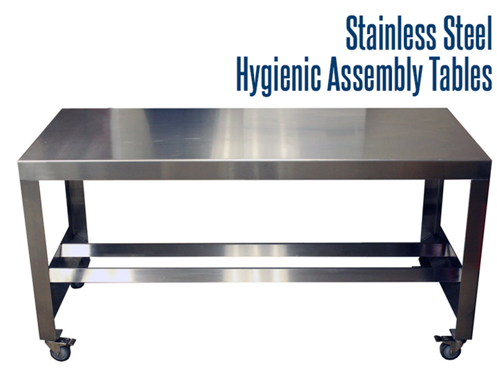 Our rectangular, stainless steel tables are the perfect solution for sanitary, easy to clean surfaces to compliment your existing processing operations.