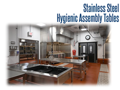 800 lb capacity, hygienic, stainless steel assembly table