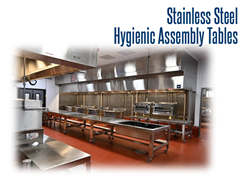 The open framework design on our hygienic, stainless steel assembly table reduces bacteria-harboring points and makes the cart easy to clean.