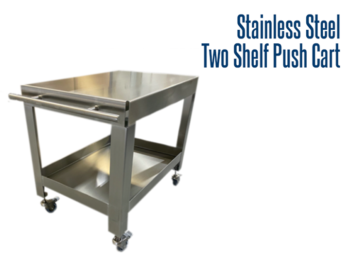 Stainless steel, hygienic, two shelf push cart with non-locking caster wheels