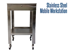 Constructed of 304 stainless steel, electropolished to facilitate cleanliness, these workstations are designed for production areas and are completely washdown safe!