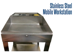 Our stainless steel mobile workstations feature a slanted writing surface and lockable storage space with a latch.