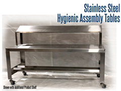 Stainless Steel, Hygienic Assembly Table with Optional Product Shelf