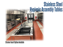 Stainless Steel, Hygienic Assembly Table with Optional Strainer Basket
