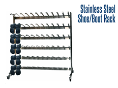 Our stainless steel shoe and boot racks are designed to accommodate specific purposes and can be customized.