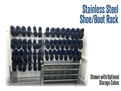 Our stainless steel shoe and boot racks holds up to 36 pairs of shoes and boots
