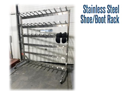 Our stainless steel shoe and boot rack is fully customizable and can include shoe storage cubes