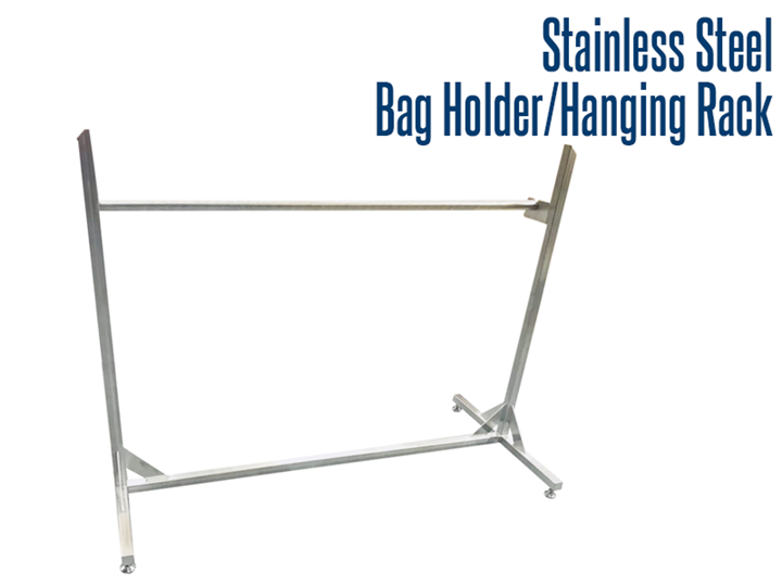 Our stainless steel bag rack / hanger rack is fully welded, allows for easy wash down and transfer of bagged items or hanging items throughout plant facilities.