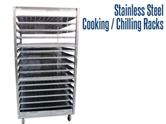 Our industrial stainless steel cooking and chilling racks are fully welded, which allows for easy wash down and high temperature casters facilittate the transfer of cooked and chilled items throughout plant facilities.