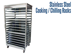 Our industrial stainless steel production racks have the option of full tray or drip tray components.
