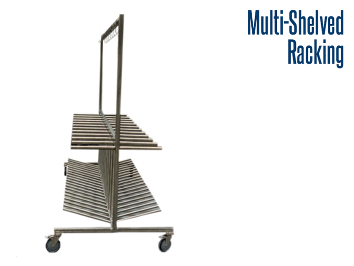 Our stainless steel multi-level racks are designed for use in various industries, including food service, pharmaceuticals, industrial and other industries that may require washdown capabilities.