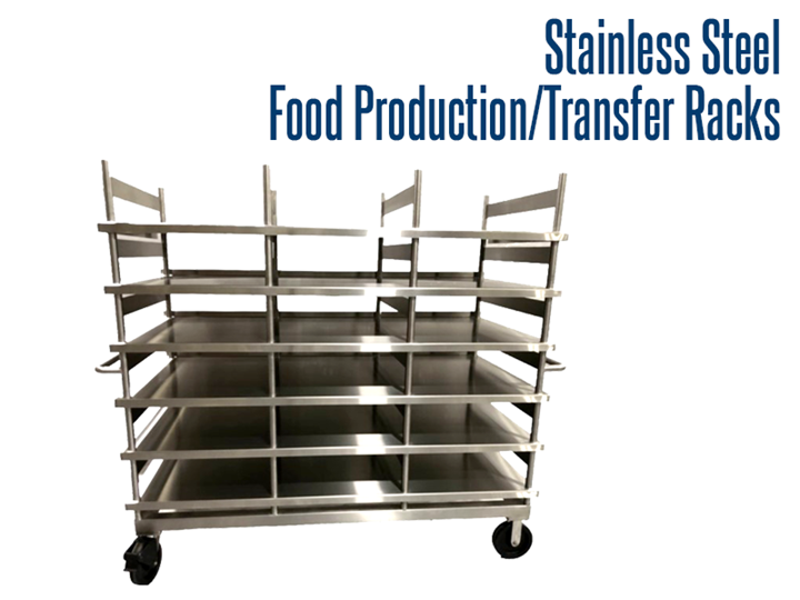 Our industrial stainless steel production and transfer racks are designed for use in the food service industry. They offer 6 levels of storage with lockable casters for easy moveability.