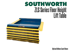 The ZLS Series Lift Table Shown with an optional bellows guard
