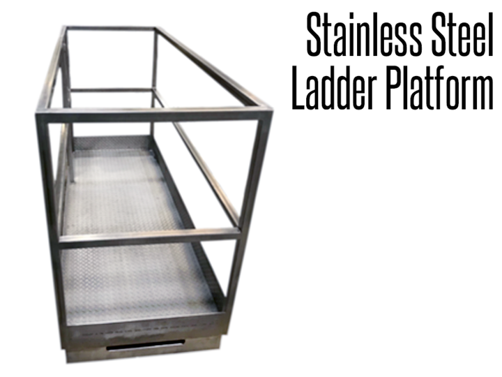 Our industrial stainless steel ladder platform is designed to provide employees with a safe, useable work space providing less fatigue, allowing for more comfortable working heights and better footing than a stand alone ladder.