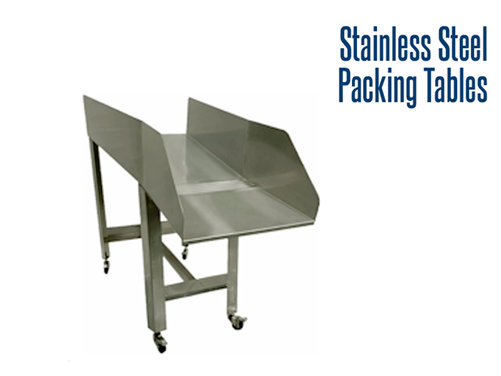 Our stainless steel packing tables incorporate an all-purpose chute designed to manually transfer product in food production areas.