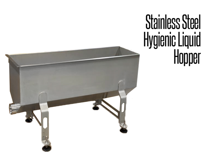 Our industrial stainless steel hygienic liquid hopper is a funnel shaped tank designed to move liquids from one container to another.  It features an easy to use design for busy food production facilities.